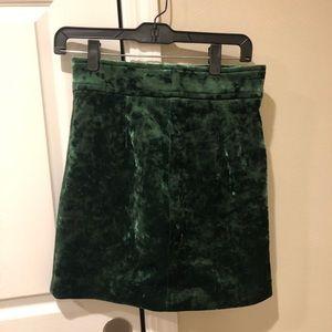 Sandro Green Velvet Skirt (US Size 2)